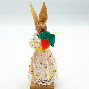 "Vintage Artmark Girl Bunny with Carrot Wooden 4.5"""